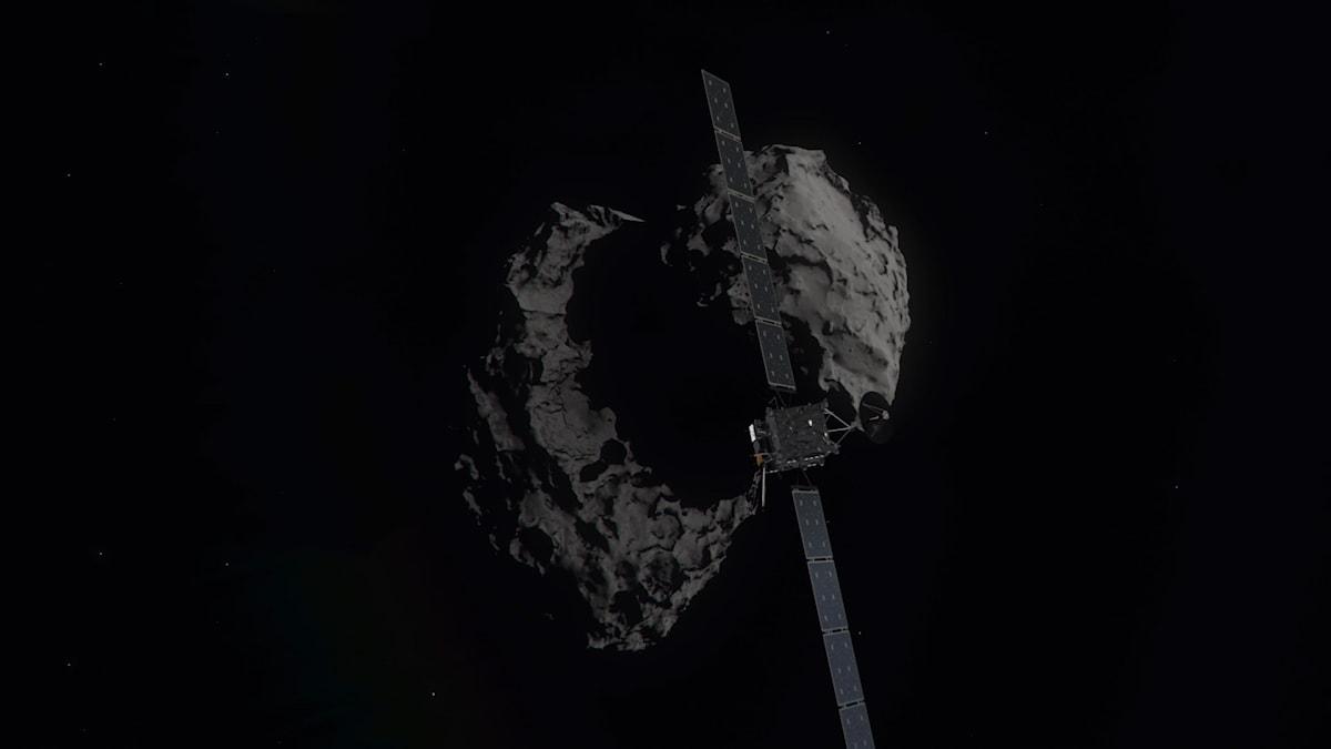 A computer-generated artist's impression of the Rosetta spacecraft shortly before hitting Comet 67P/ChurymovGerasimenko.