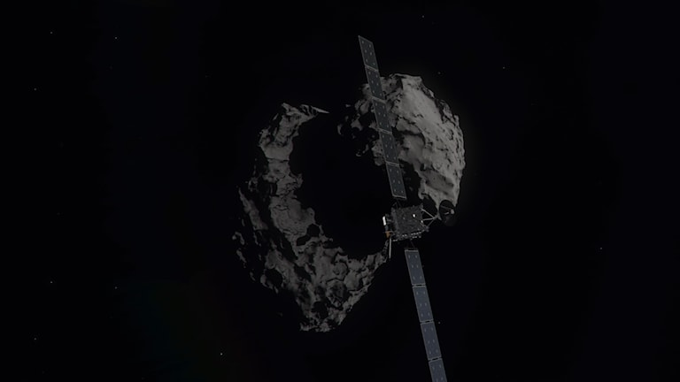 A computer-generated artist's impression of the Rosetta spacecraft shortly before hitting Comet 67P/ChurymovGerasimenko.