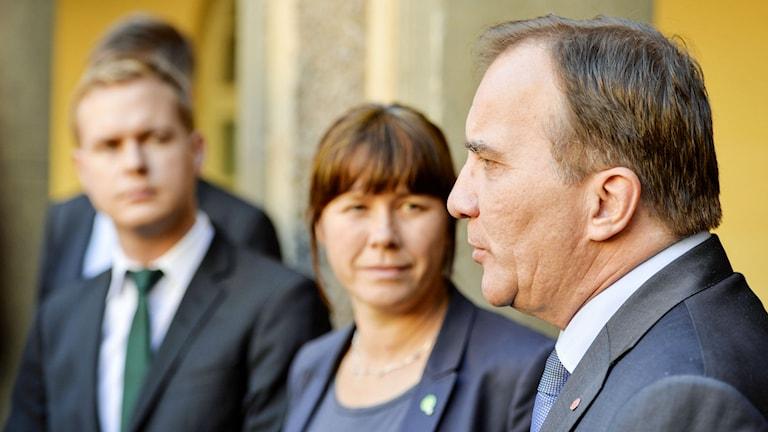 "Fridolin, Romson, Löfven ""naturliga samarbetspartners"". Photo: Henrik Montgomery/TT"