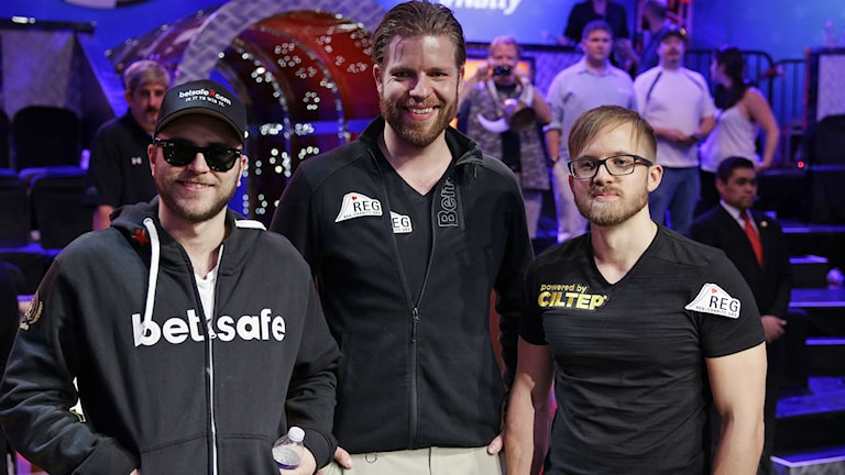 Felix Stephensen, Jorryt van Hoof and Swede Martin Jacobson are the contestants left at the final table of World Series of Poker. Photo: John Locher/AP