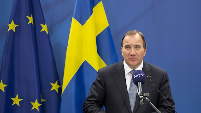 Swedish Prime Minister Stefan Löfven speaks during a media conference at an EU summit in Brussels. Photo: Virginia Mayo / AP.