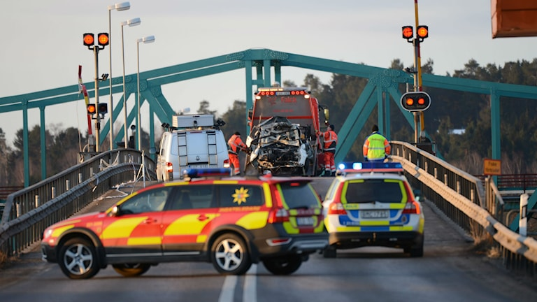 Two people died when they drove through the barriers and into the water, after the bridge was opened suring a car chase. Photo: Fredrik Sandberg