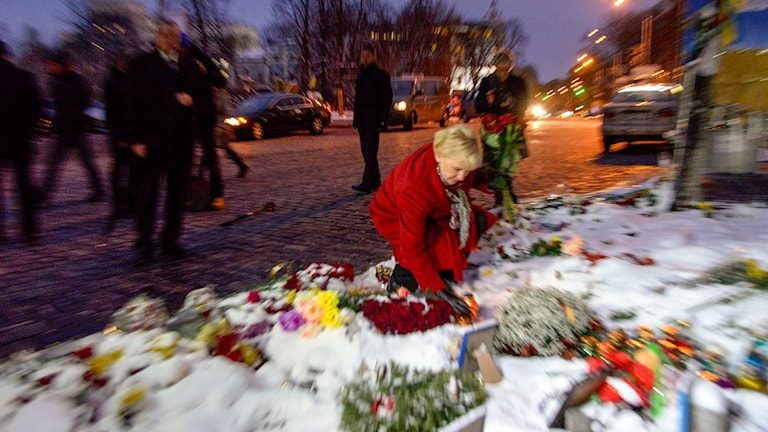 "Sweden's Foreign Minister laying flowers at a memorial on ""Maidan"".square, Photo: Gustav Sjöholm / TT"