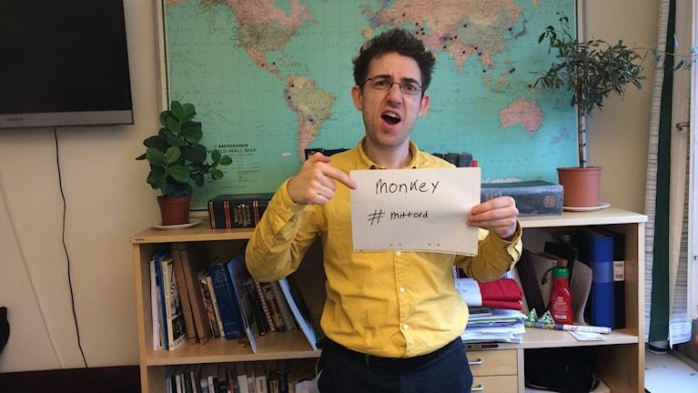 "Loukas chose ""Monkey"". Photo: Kris Boswell/Radio Sweden"