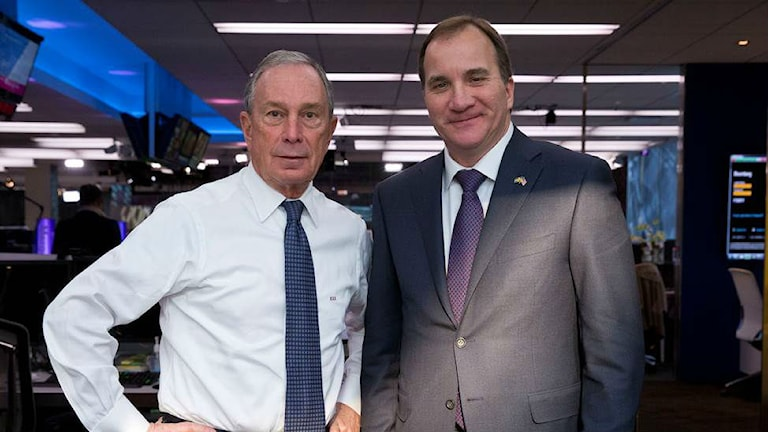 Prime Minister Stefan Löfven meeting with former New York City Mayor Michael Bloomberg during a recent visit to New York this month. Photo: Bloomberg/Jin Lee.