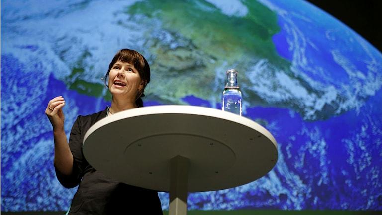 Green Party spokesperson Åsa Romson speaking in Karlstad to the party faithful. Photo: Linn Malmén/TT