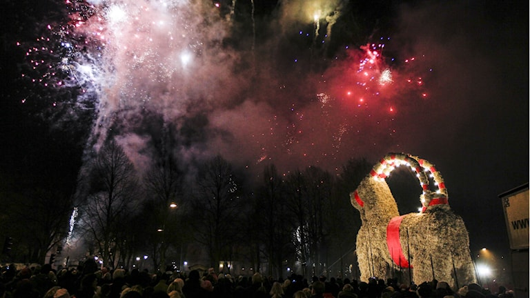 At the inauguration of the Gävle Christmas Goat 2014. Photo: Pernilla Wahlman/TT
