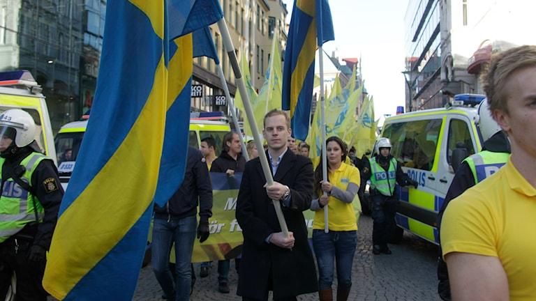 Gustav Kasselstrand in a Sweden Democrat Youth march. Photo: Drago Prvulovic/SCANPIX