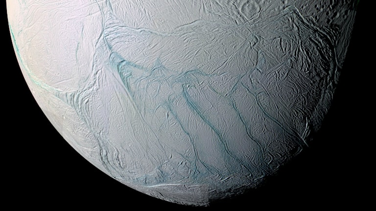 The film is based on real images, such as this photo of Saturn's moon Enceladus, taken by the NASA probe Cassini. Photo: NASA/JPL/Space Science Institute