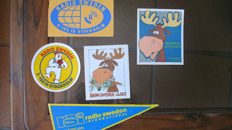 Radio Sweden stickers, including our old mascot, Gustafsson. Photo: Agnaldo Silva