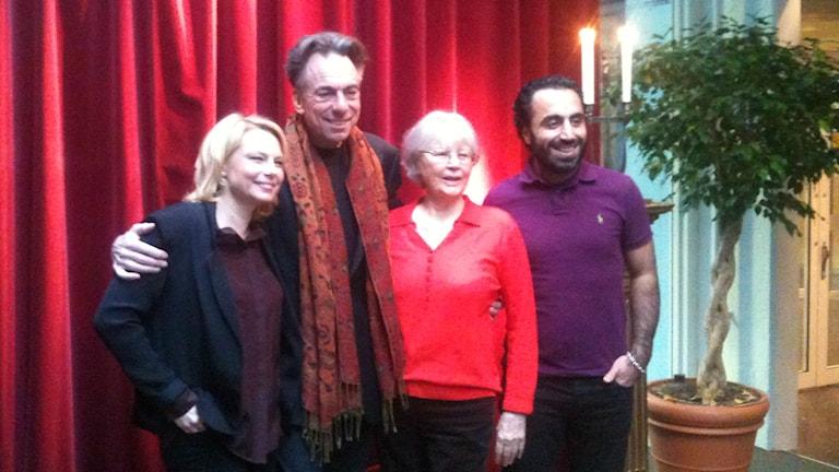 Helena Bergström, Rikard Wolf, Harriet Andersson and Özz Nûjen. Photo: Ryan Tebo/Radio Sweden.