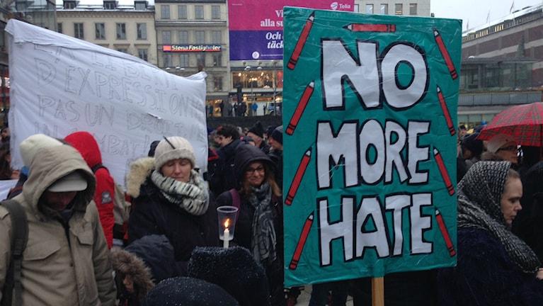 The demonstration at Sergelstorg, Photo: Nathalie Rothschild/Radio Sweden