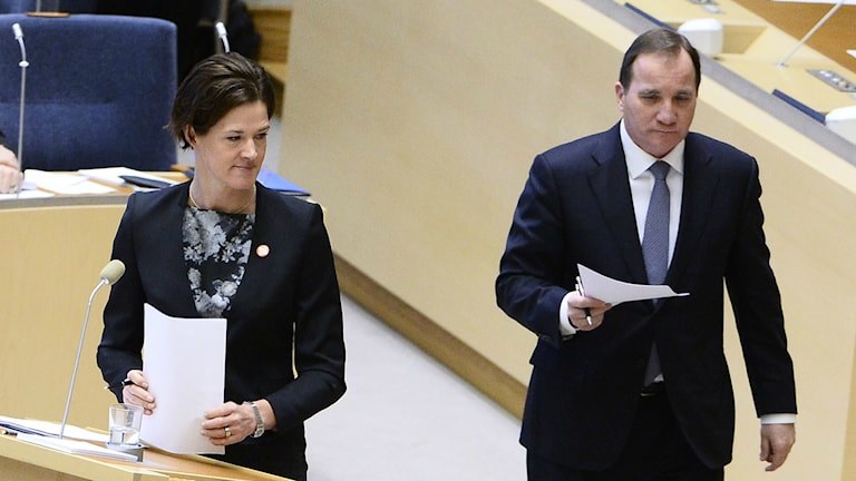 Conservative Moderate leader Anna Kinberg Batra and Prime Minister Stefan Löfven during the party leader debate, Photo: Claudio Bresciani/TT