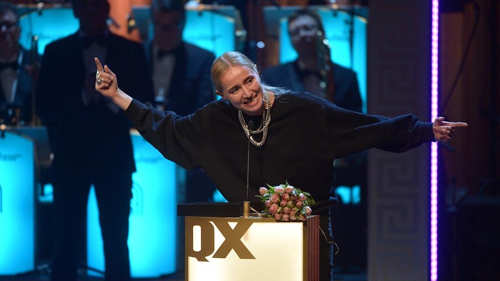 """Hip-hop star Silvana Imam won the """"Homo of the year"""" award. Photo: Fredrik Sandberg / TT"""