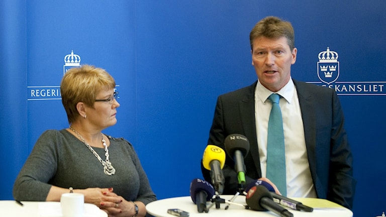 Then Minister Maud Olofsson with Vattenfall's Thorbjörn Wahlborg in 2011, Photo: Pontus Lundahl/TT