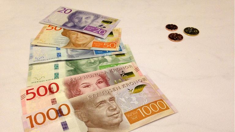 Riksbanken presenterade Sveriges nya mynt och sedlar i dag. Foto:Markus Landén/Sveriges Radio.