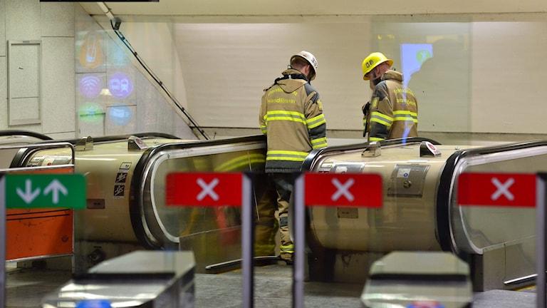 Closed escalators at the Östermalmstorg station, Photo: Johan Nilsson/TT