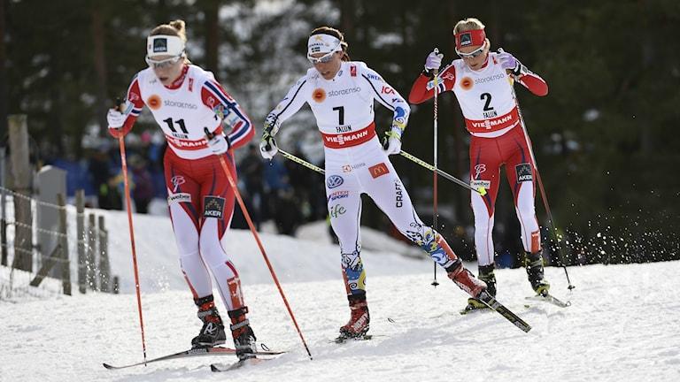 Toiseksi tuli Norjan Astrid Jacobsen, kolmanneksi Ruotsin Charlotte Kalla ja voiton vei Norjan Therese. Foto: Anders Wiklund / TT