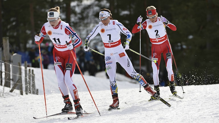 Astrid Jacobsen, Charlotte Kalla, and Therese Johaug fighting it out in the final stretch, Photo: Anders Wiklund / TT