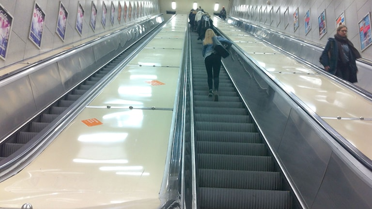 One of the stopped escalators at Östermalmstorg. Photo: Brett Ascarelli / Radio Sweden