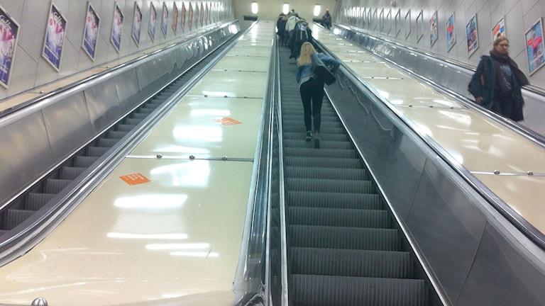 One of the stopped escalators at Östermalmstorg. Photo: Brett Ascarelli / Radio Sweden