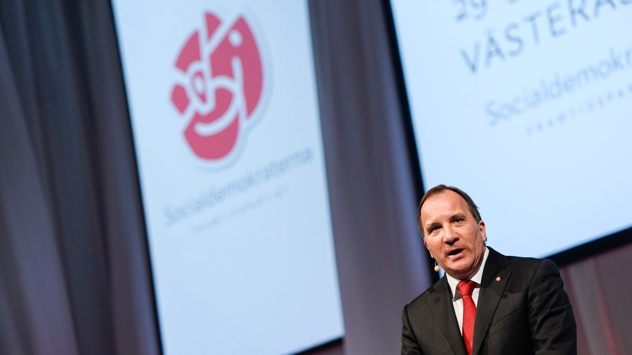 Stefan Löfven på partikongressen i Västerås. Foto: Pontus Lundahl / TT