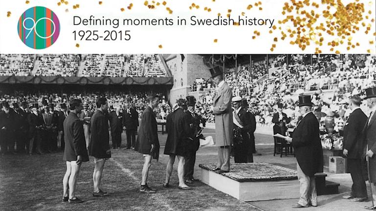 King Gustav V hands out medals at the 1912 Summer Games in Stockholm.