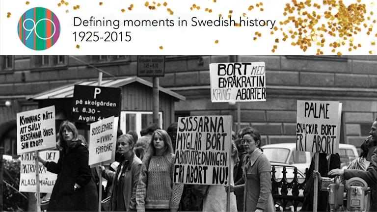 A group of women demanding legal abortions in 1972. Photo: TT/Birgitta Lagerström.