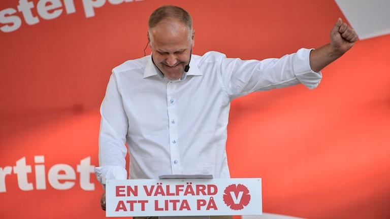 Jonas Sjöstedt delivering his speech at Almedalen 2015. Photo: Henrik Montgomery / TT.
