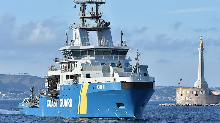 Swedish Coast Guard's Poseidon ship. Photo: Carmelo Imbesi / AP / TT.