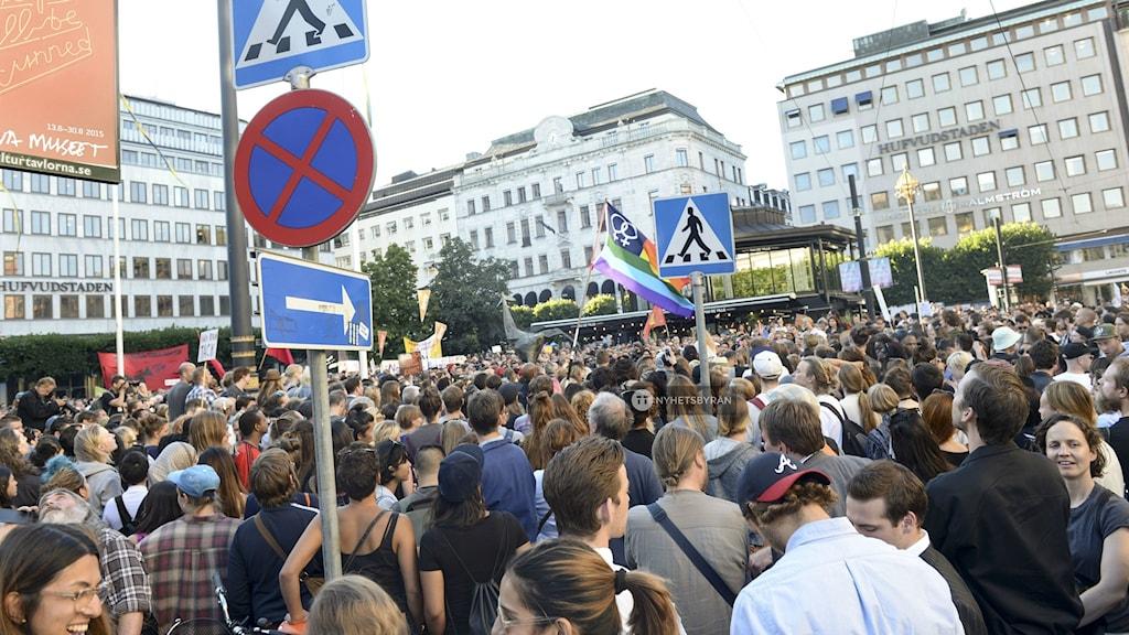 More than 1000 protesters gathered at Norrmalmstorg, Photo: Fredrik Sandberg/TT