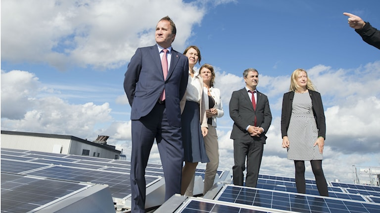 Prime Minister Stefan Löfven, Environment Minister Åsa Romson, Minister for International Development Cooperation Isabella Lövin and Minister for Energy Ibrahim Baylan posed on a rooftop amidst rows of solar panels. Photo: Fredrik Sandberg / TT.