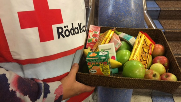 Red Cross volunteers greeting the refugees with snacks and fruit as they come off the trains from Malmö. Photo: Ulla Engberg/SR