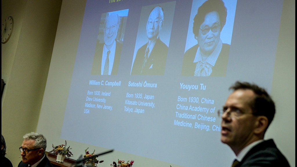 Professor Urban Lendahl, head of the Nobel Committee at the Karolinska Institute, announces the winners of the 2015 Medicine Prize, Photo: Fredrik Sandberg / TT