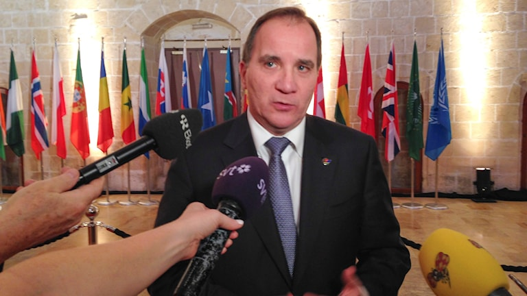 Prime Minister Stefan Löfven speaking to the press in Valletta on Wednesday. Photo: Wiktor Nummelin  / TT