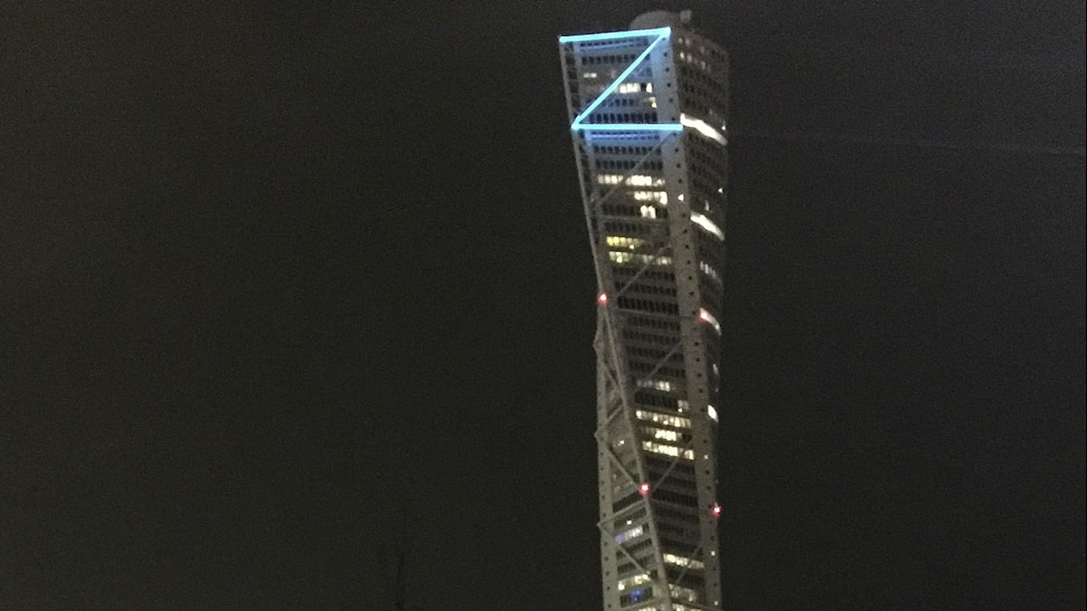Zlatan's name went up in lights on Malmö's tallest building, Turning Torso. Photo:TT