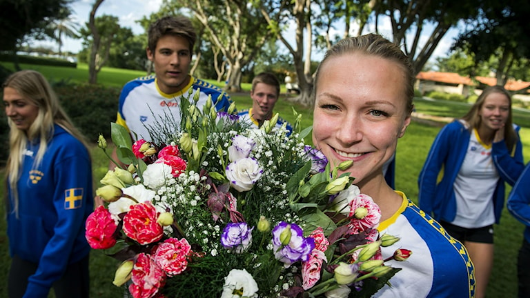 Sarah Sjöström takes the plaudits in Israel where she is preparing for the World Short Course Championships. Photo:Marcus Ericsson/TT