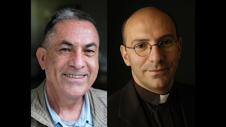 Israeli journalist Gideon Levy (left), photo by Alex Levac. Palestinian pastor Mitri Raheb (right) / compliments of Olof Palme Fund.