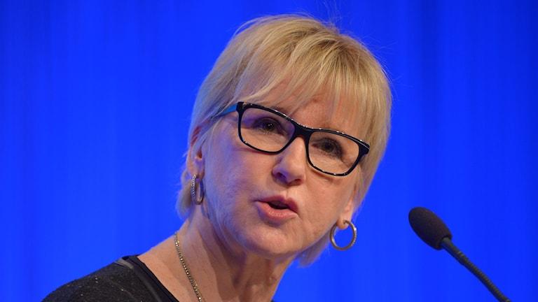 Sweden's foreign minister, Margot Wallström, at the annual Folk och Försvar conference in Sälen. Photo: Henrik Montgomery / TT