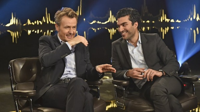 "Fredrik Skavlan, left, the Norwegian host of the original ""Skavlan"" show shares a laugh on set with Farzad Farzaneh, host ""Skavlan Jr."" Photo: Jonas Eriksson."