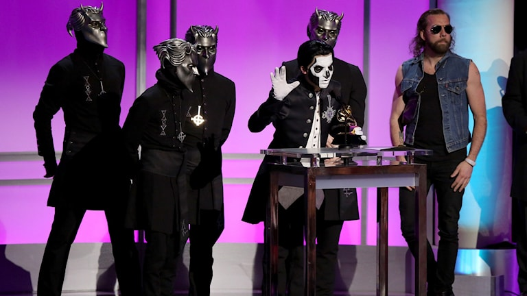 The metal band Ghost, from Linköping, poses with their Grammy on Monday night in Los Angeles. Photo by Matt Sayles/Invision/AP