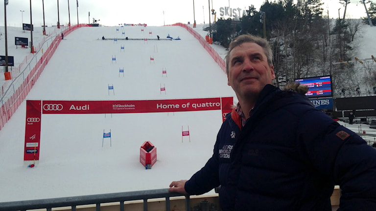 Kaj Linde, event manager for the world cup ski competition, preparing for the contest on Monday.
