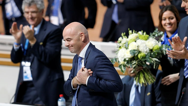 Newly elected FIFA President Gianni Infantino of Switzerland thanked the delegates after winning on Friday night in Zurich. Photo: Michael Probst / AP / TT