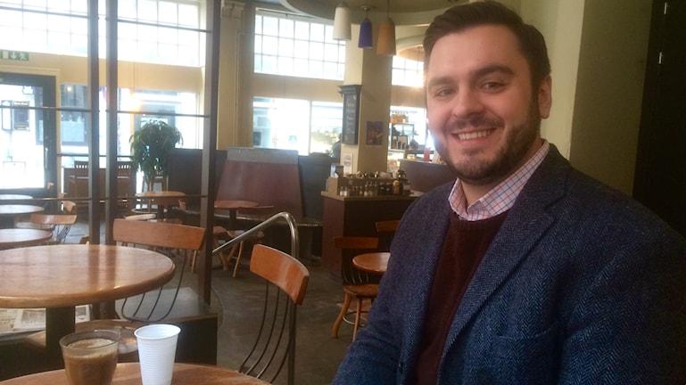 Alex Lange, Democrats Abroad Stockholm. Photo: Ryan Tebo / Sveriges Radio.