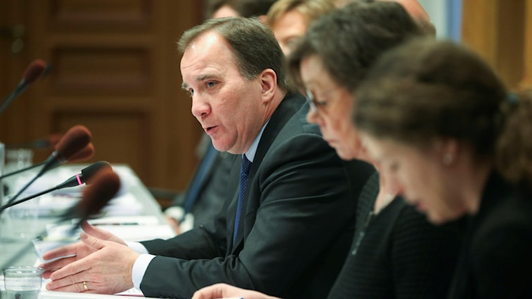 Prime Minister Stefan Löfven speaking to the EU committee on Friday.