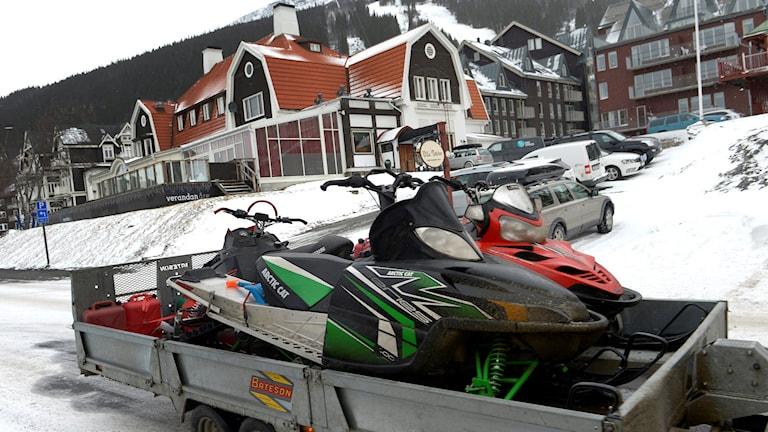 Snowmobiles outside the Swedish ski resor of Åre.