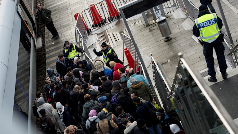 Migrants arriving in Malmö, southern Sweden.