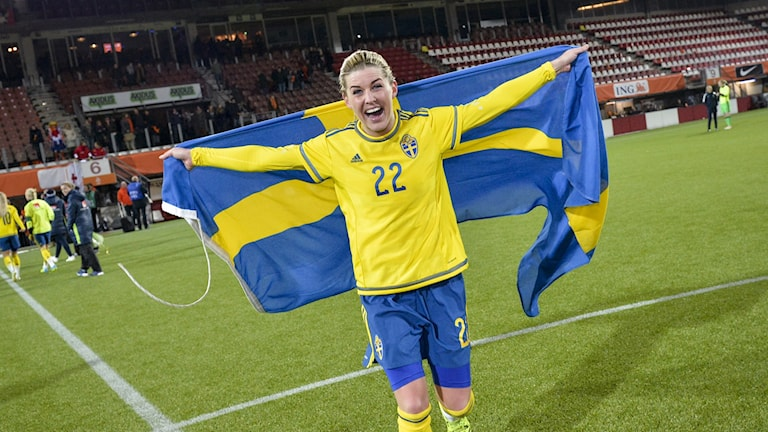 A jubilant Olivia Schough, pictured after her team qualified for the Olympics. Schough scored the goal Sweden needed in Wednesday's match in Rotterdam, to tie against the Netherlands. Jonas Ekströmer / TT