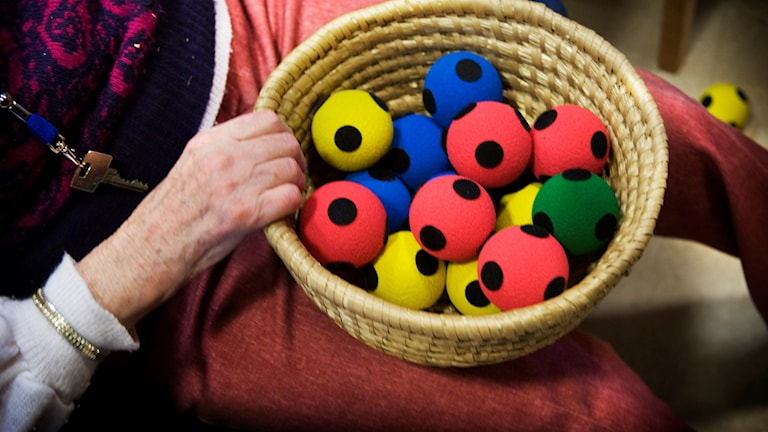 A basket of soft balls used to help people suffering from dementia, at a residence in a Stockholm suburb. File photo: KARIN MALMHAV / TT
