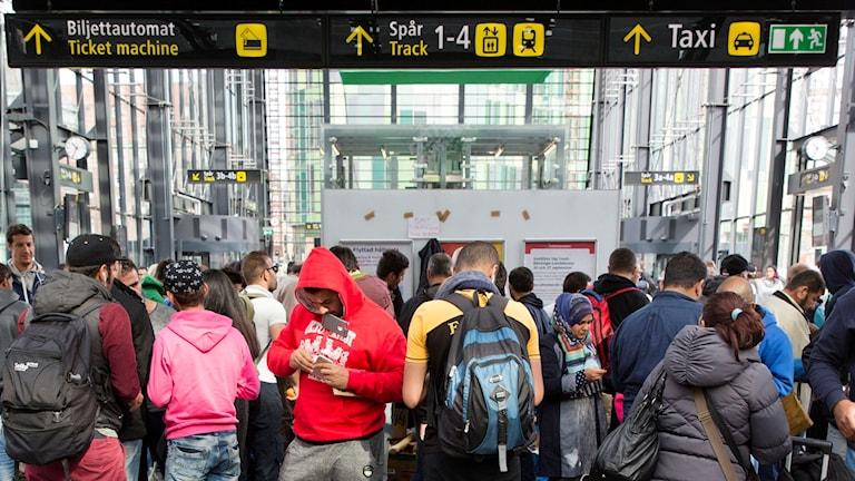 Asylum seekers at Malmö central station in September 2015. Photo: Ola Torkelsson / TT.